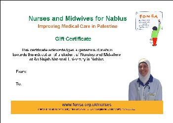 Small image of a FONSA Gift Certificate for Nurses & Midwives