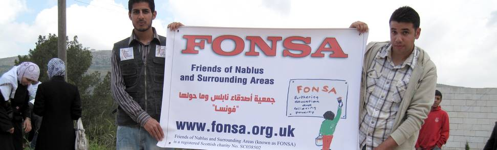 FONSA sign being held in Palestine