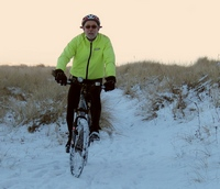 Mike on his bike in the snow