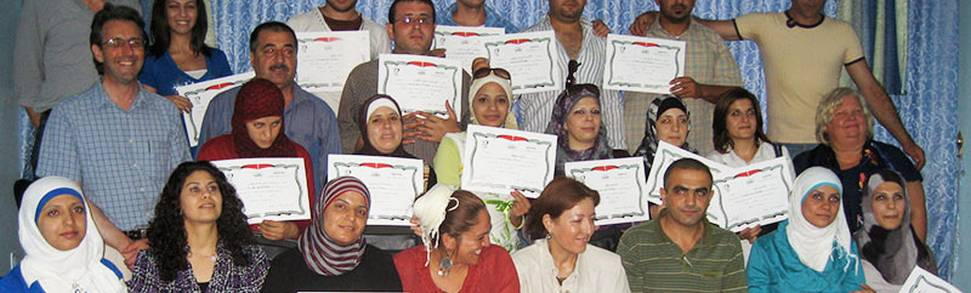 Schools counsellors with certificates on a completed training