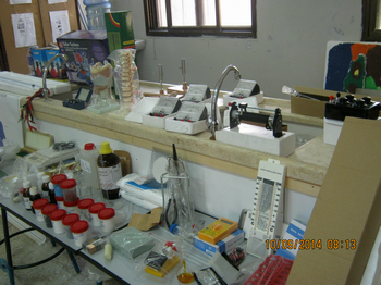 Picture of science items bought for Madama Boys' School